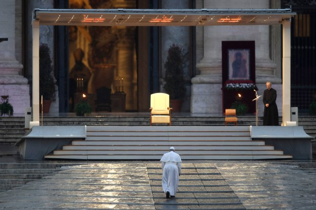 Pope Francis arrives to deliver an ...