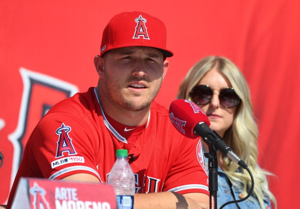 Mike Trout #27 of the Los ...