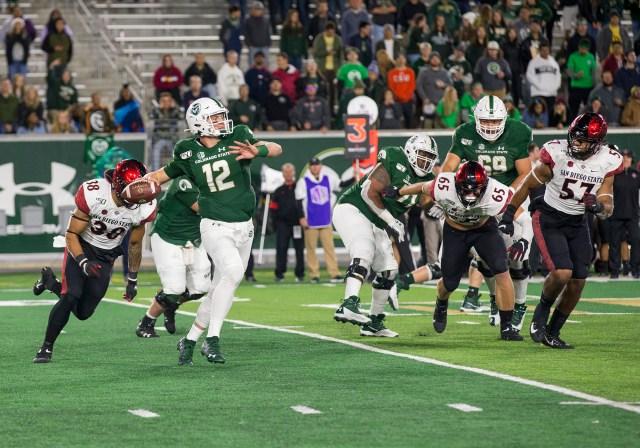 Colorado State quarterback Patrick O'Brien (12) ...