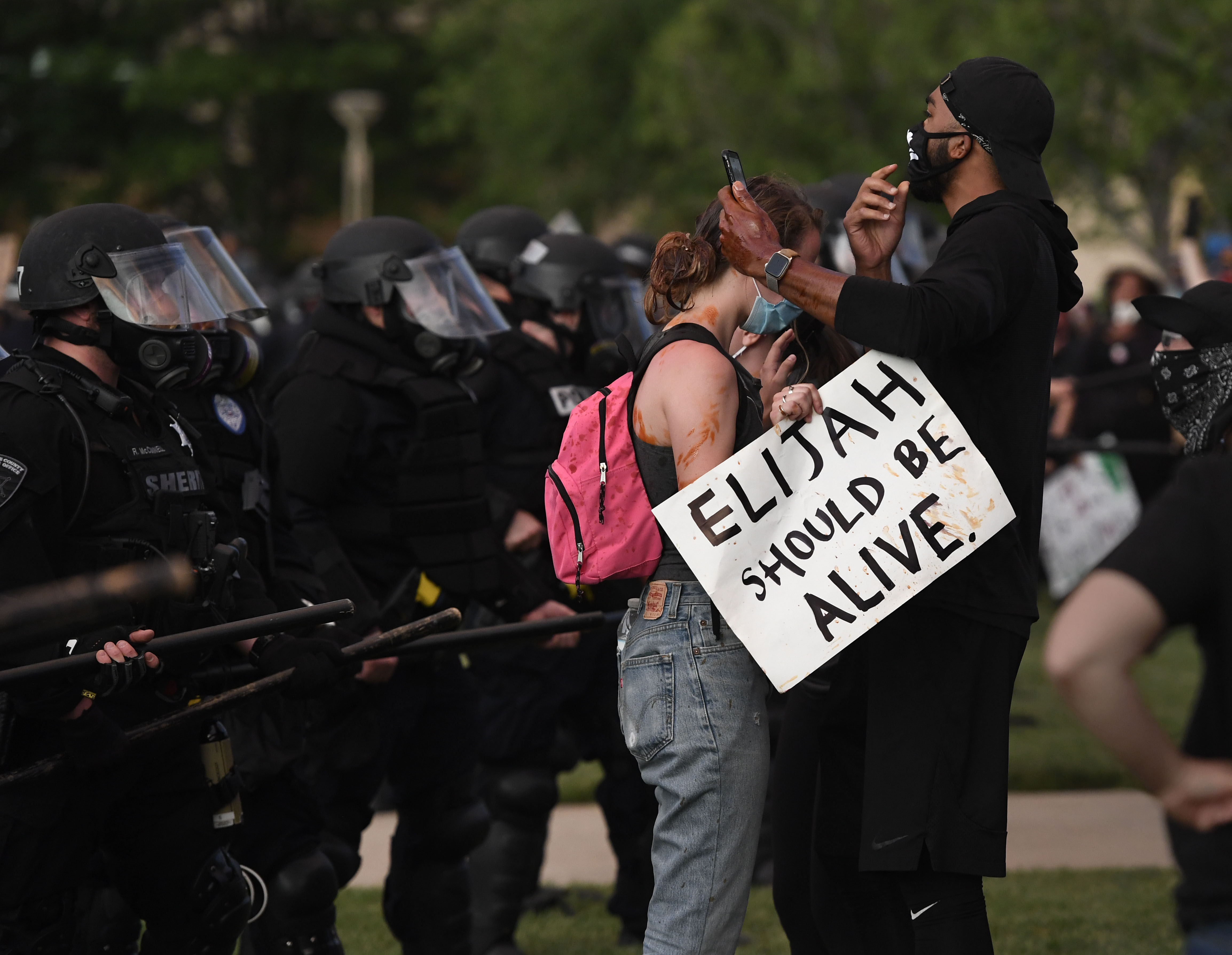 Elijah McClain protesters close to the ...