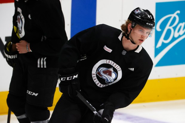 Colorado Avalanche defenseman Bowen Byram takes ...