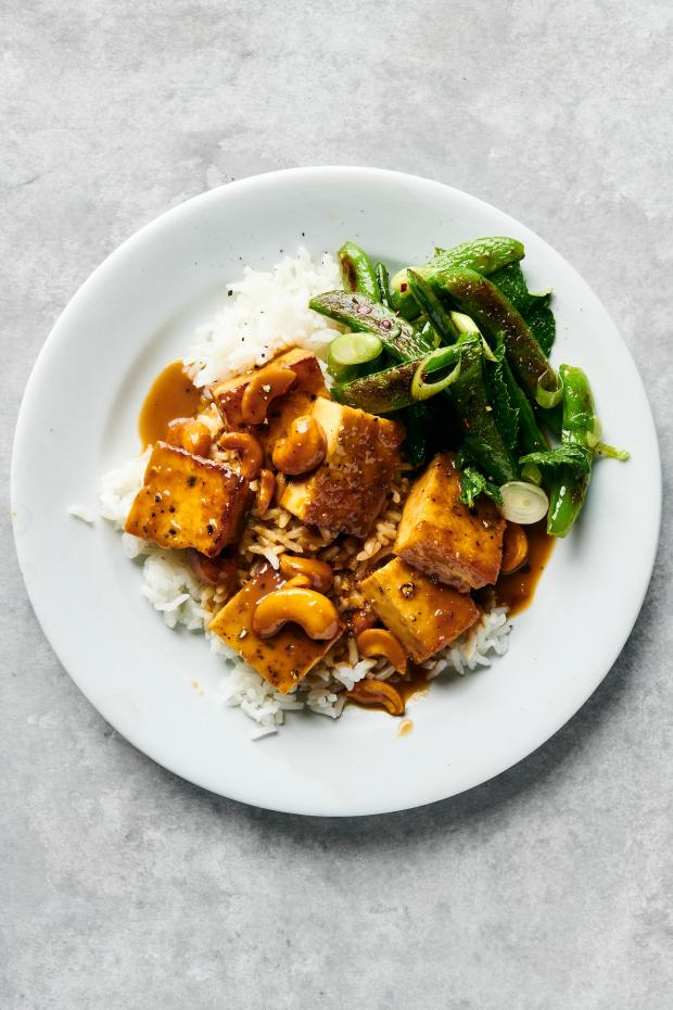 Crispy tofu with cashews and blistered ...