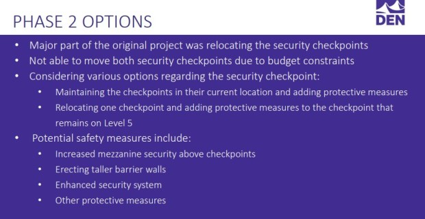 Denver International Airport security options in presentation