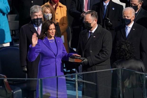Kamala Harris is sworn in as ...