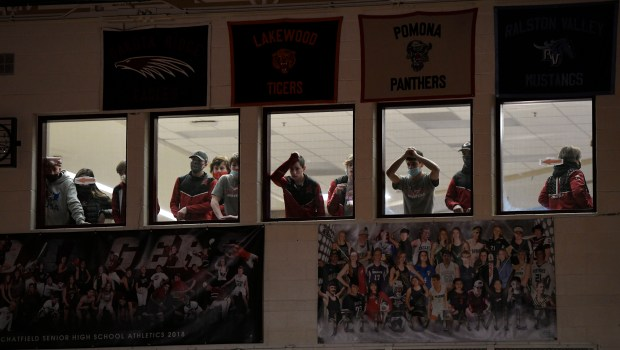 Chatfield boys wrestlers watch the action ...