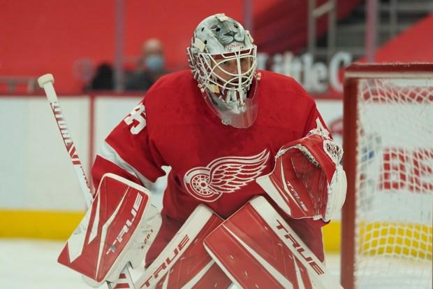 Detroit Red Wings goaltender Jonathan Bernier ...