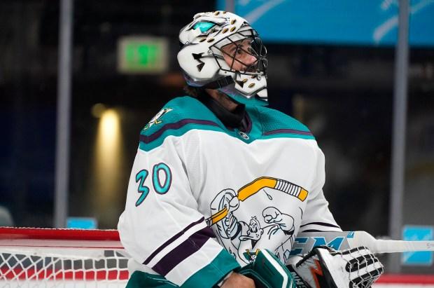 Anaheim Ducks goaltender Ryan Miller pauses ...