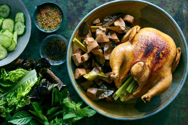 Baked chicken with young jackfruit, a ...