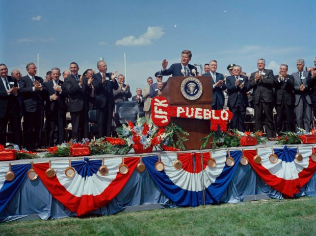 President John F. Kennedy delivers remarks in Pueblo, Colorado, to commemorate the Fryingpan-Arkansas Reclamation Project in 1962.