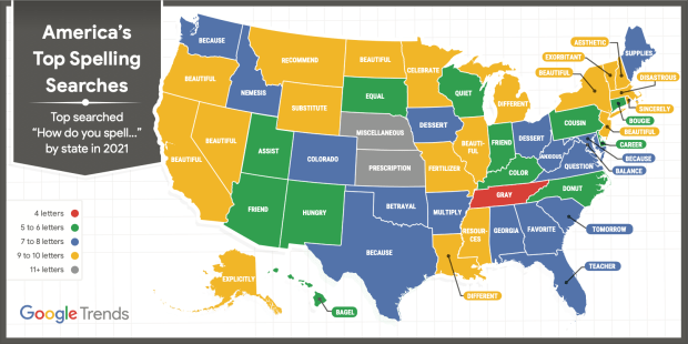"""""""How do you spell..."""" Google searches by state"""