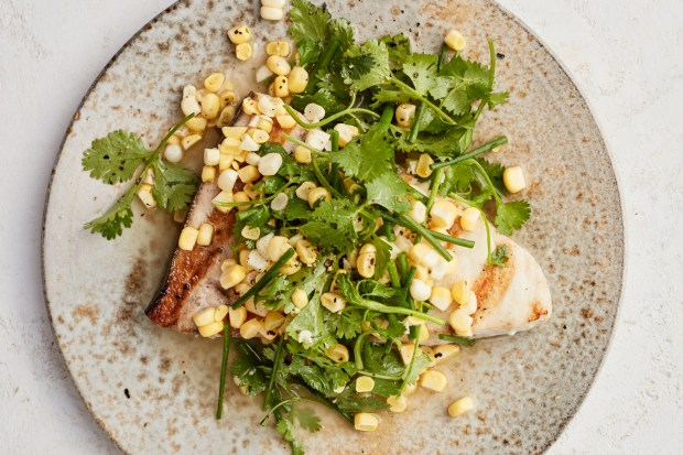 Grilled swordfish dressed with a corn, ...