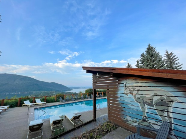 The 101-year-old Grand Lake Lodge is on a ridge overlooking the town and lake and features its own pool and restaurant.