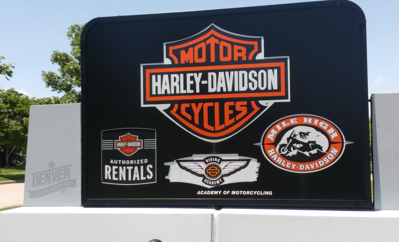 Harley Davidson  monument sign  Denver Printing Company