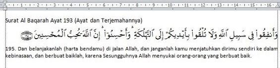 pasang Add-Ins Al Qur'an pada microsoft word 2007