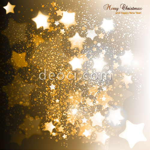 Gold Stars Abstract Vector Christmas New Year Greeting Card Cover