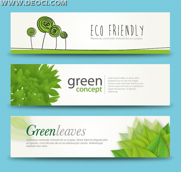 3 Free Green Leaves Banner Advertising Background