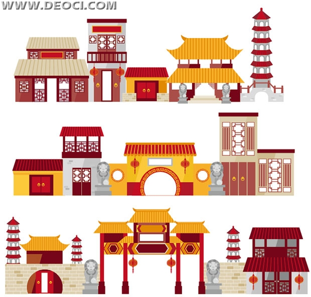 Flat Cartoon Chinese Traditional Architectural EPS Downloads Vect