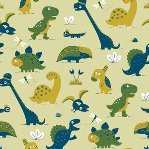 Bora behang Dinosaurus  groen  De Oude Speelkamer