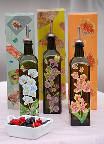 bottiglie decorate olio extravergine di oliva de paolis bio