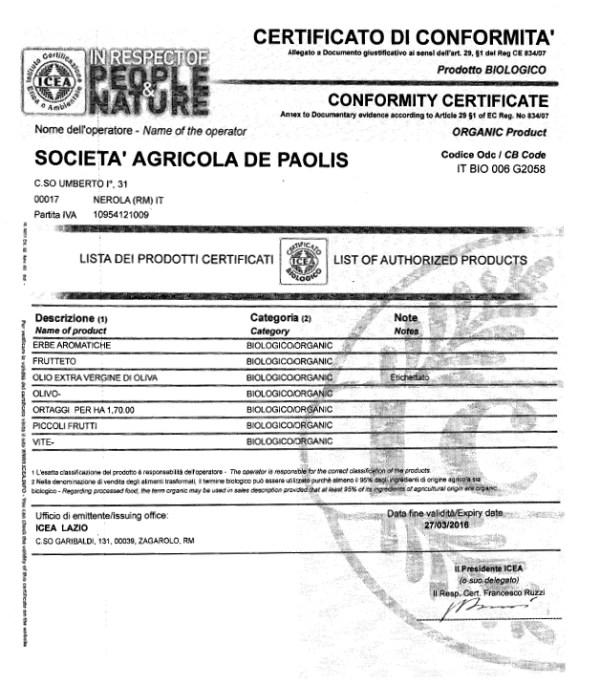 Certificazione Conformità Biologica ICEA per la  Soc. Agr. De Paolis