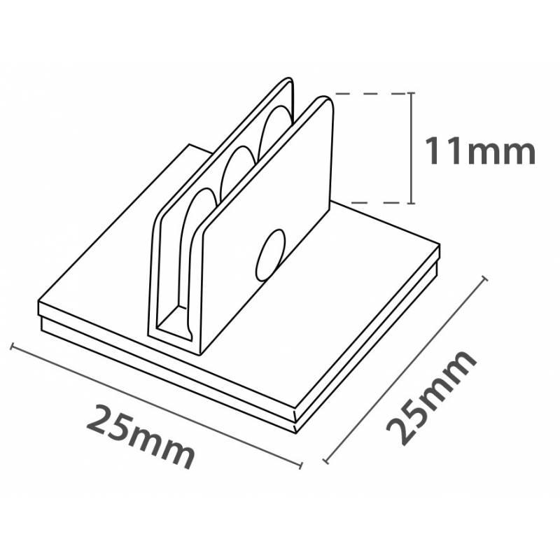 Clip adhesivo para usar como soporte de cartelería