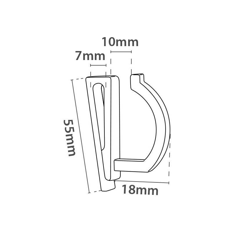 Colgador de 18 mm de fondo con clip para colgarlo en