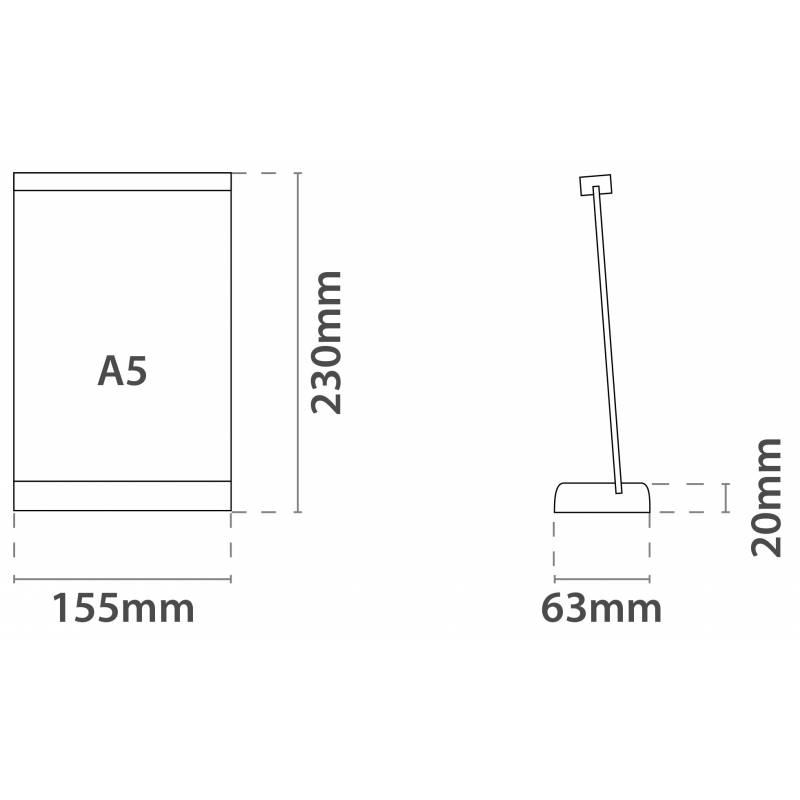 Pizarra de sobremesa tamaño DIN A5 15x21 cm.