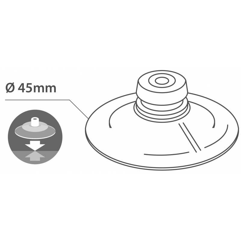 Ventosa doble de 45 milímetros de diámetro con chincheta.