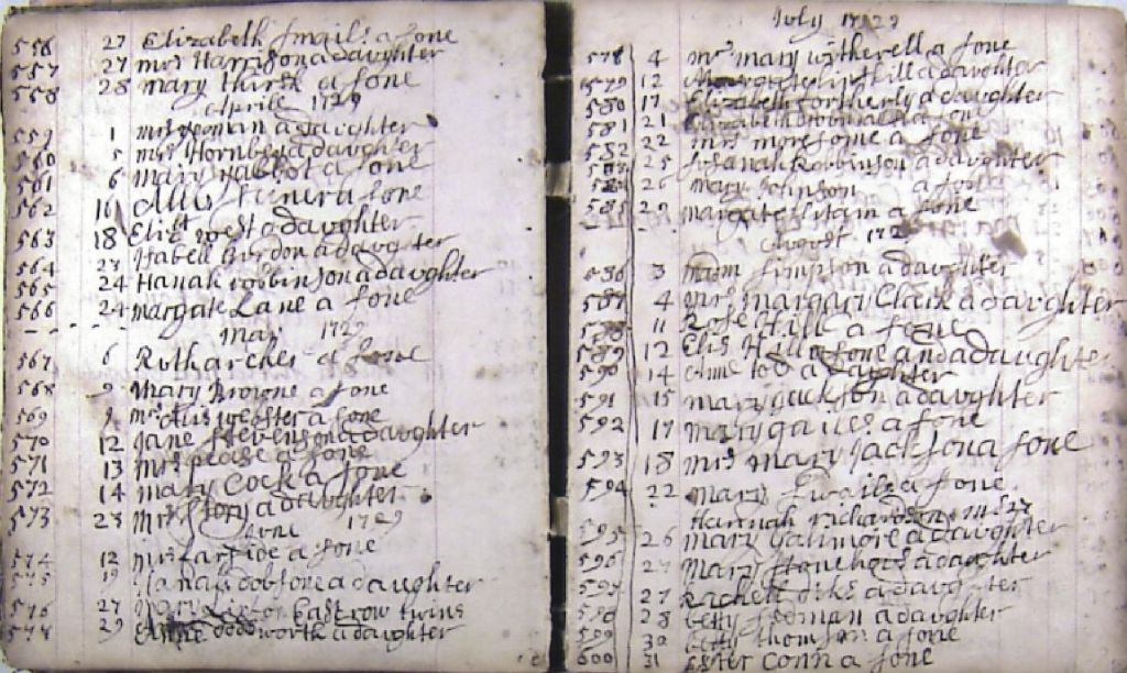 A page from Midwife Manley's diary (1720-1764)