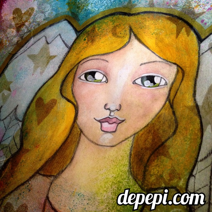 depepi, depepi.com, mixed media, mixed media art, kawaii, cute, angel, arcangel gabriel, autism