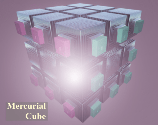 """A cube made of 27 smaller cubes labeled with """"Mercurial Cube"""""""