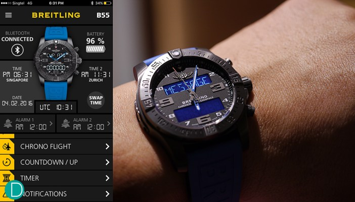 The app on an Apple iPhone which is connected to the Breitling Exospace B55. The screen capture is taken after the photo session, and hence show a later time (6:31pm local time) to the watch's 6:05pm. The image of the B55 on the phone is curiously not animated to actual time, and always shows the watch at 10:10.