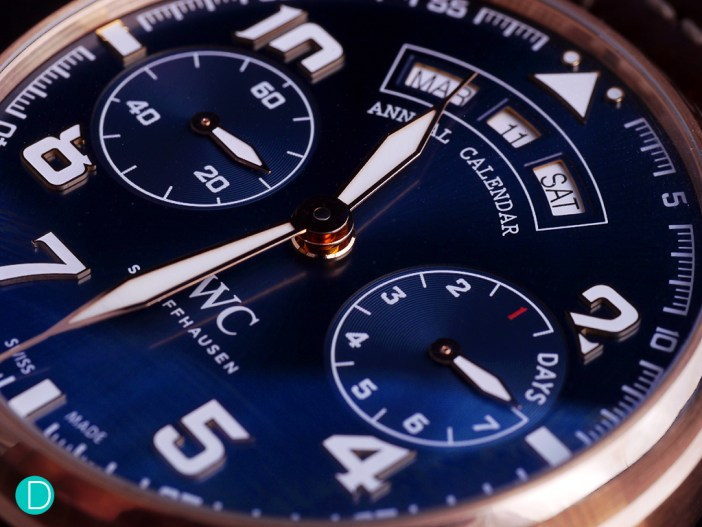 The dial alone is worth the price of entry to this watch. Deep midnight blue, it sets off in good contrast to the appliqués markers and hands which are filled with SuperLuminova.