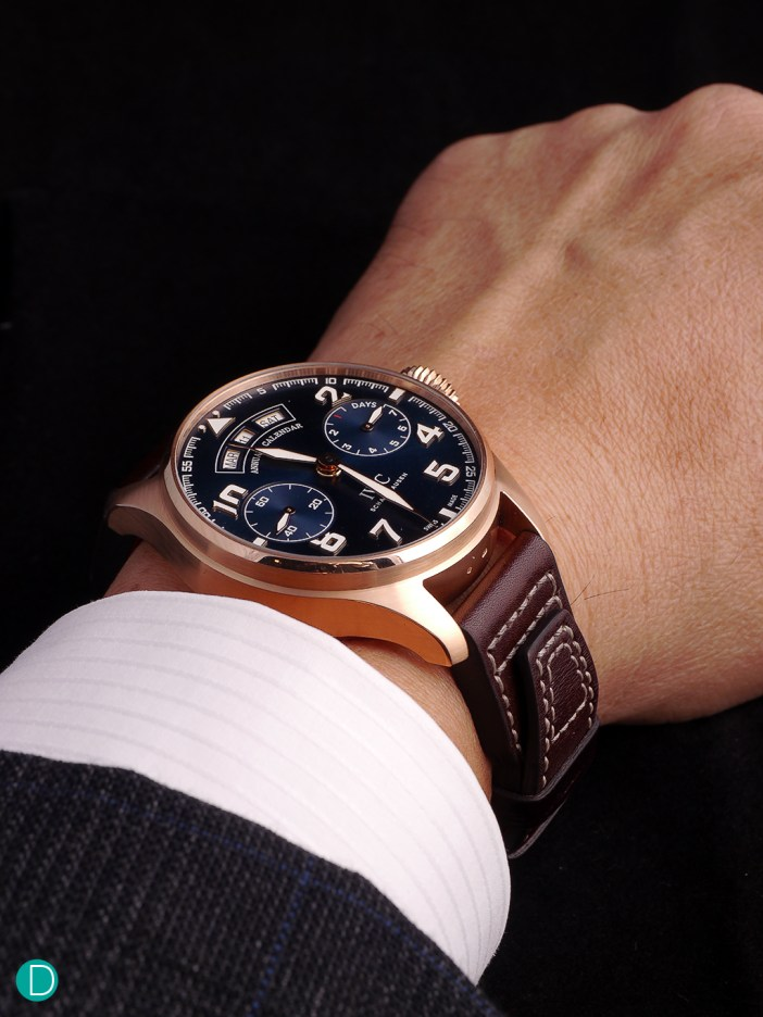 On the wrist, the 46mm case with a height of 15.5 sits comfortably on the wrist, slipping under the cuff at times, but also peeking out at other times to reveal its handsome face.