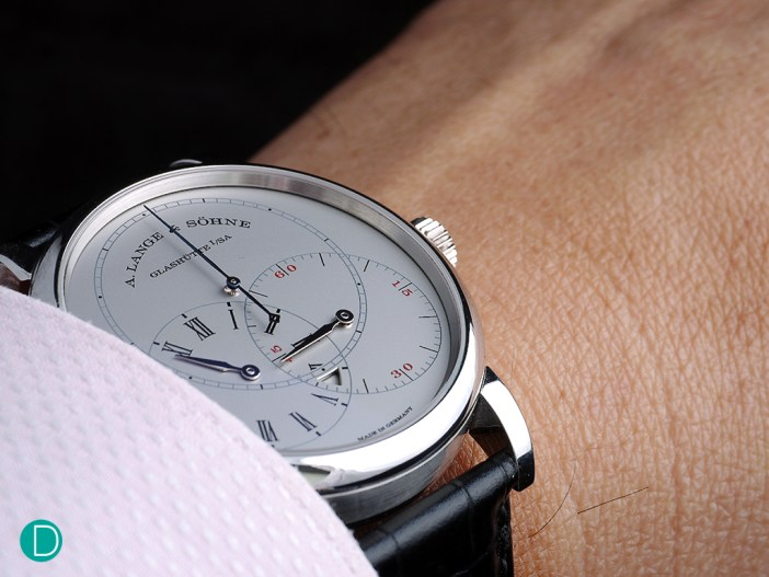 On the wrist, the Richard Lange Jumping Seconds is comfortable, and slips under the cuff of a shirt with ease.