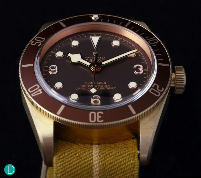 The case of the Black Bay Bronze is sturdy, with design cues taken from vintage Tudor diving watches.