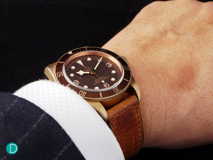 The Black Bay Bronze looking regal on the author's wrist, with bespoke shirt and suit.