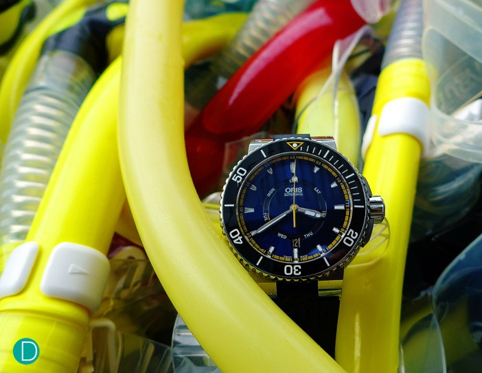 The Oris Great Barrier Reef Limited Edition II in its natural habitat...out at sea, ready for diving into the Great Barrier Reef/