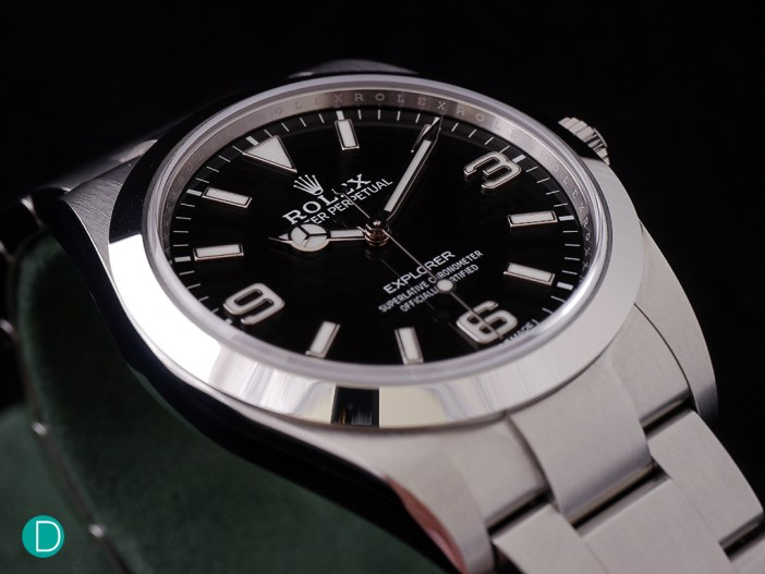 Rolex promotional photograph of the new Explorer. The dial layout and design is maintained, but updated.