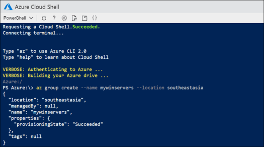 Create a Window Server Container on Azure ACI using Cloud