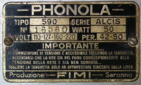 Radio Phonola 590 Alcis - targhetta