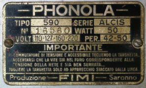 Radio Phonola 590 Alcis - targhetta identificativa
