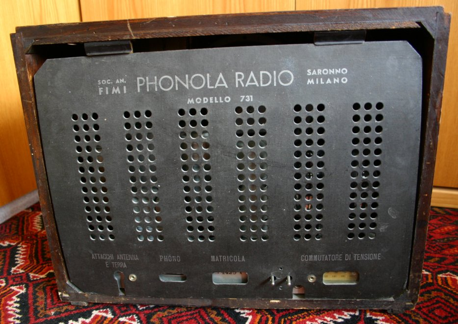 Radio Phonola 731 - pannello posteriore