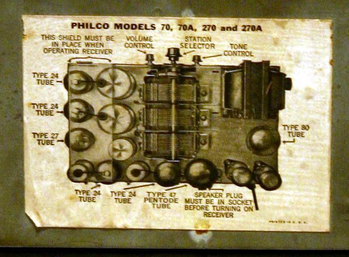 Radio Philco 70 - targhetta