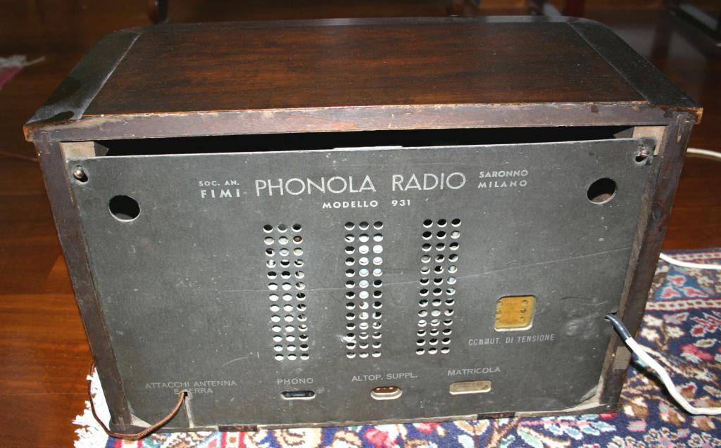 Radio Phonola 931 - pannello posteriore