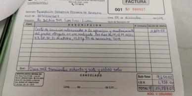 Factura a Federación Nacional Deportiva Peruana de Bowling