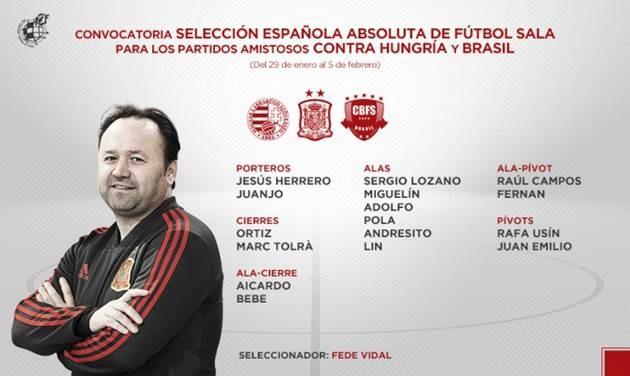 Agotadas las entradas para el España-Brasil de fútbol sala del domingo 3 de febrero en Cáceres