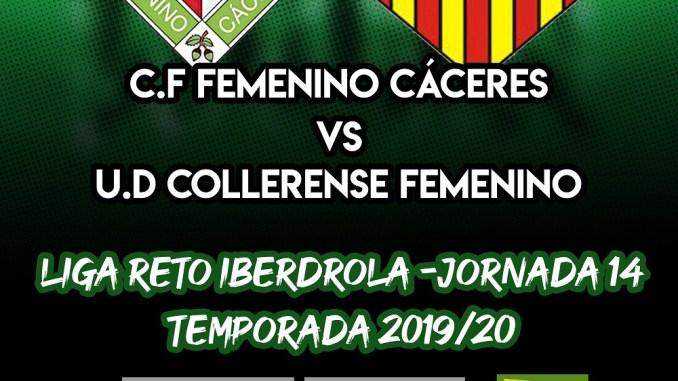 El partido de la Jornada 14 entre el C.F Femenino Cáceres – U.D Collerense se jugará en el Príncipe Felipe