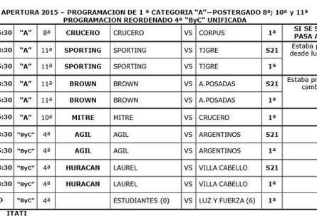 programación Liga Apertura