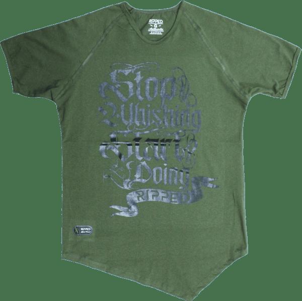 letras verde manga corta pico